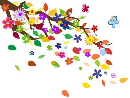 Spring flowers background fully editable vector illustration Vector