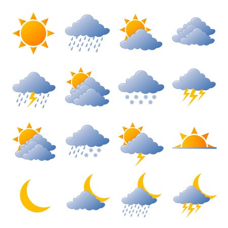 meteo: Weather icons fully editable vector illustration