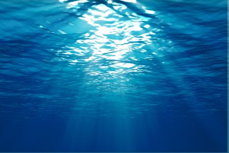 from below: An underwater scene with sunrays shining through the water