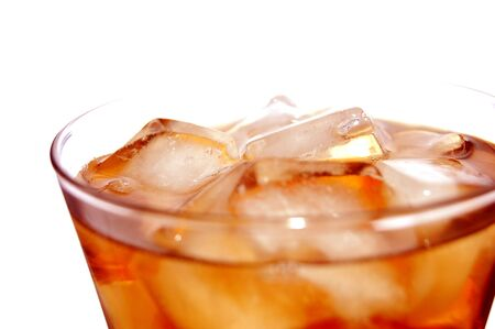 ice filled soft drink isolated on white photo