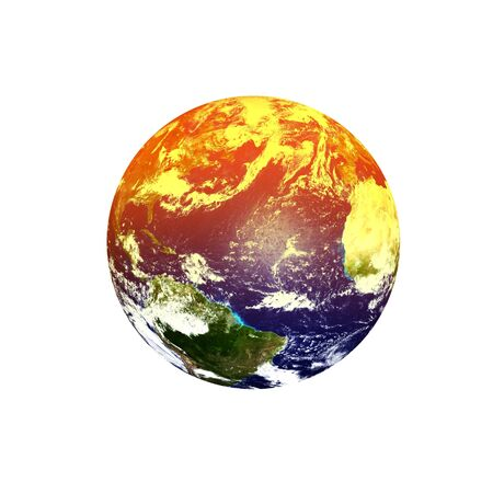 Planet Earth on a white background Global warming concept