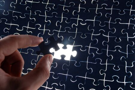 abstract puzzle background with one missing piece Stock Photo - 4100773