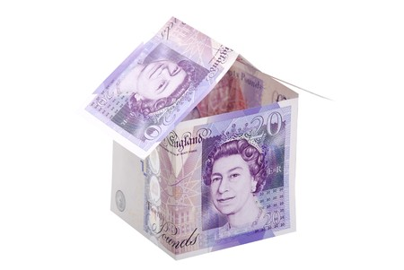 Money house isolated on white Stock Photo
