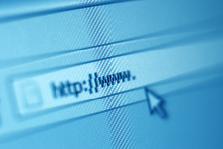 address bar: Close-up shot of address bar on computer screen with cursor arrow  Stock Photo