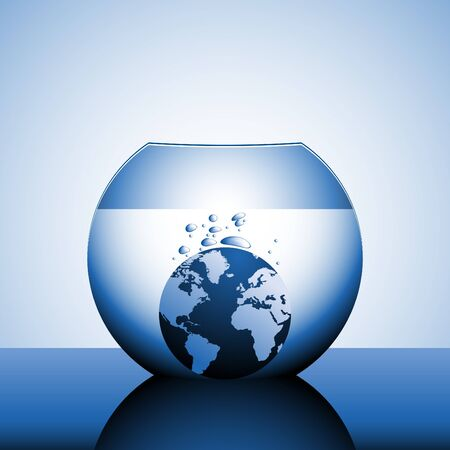 sinking: A globe sinking in water with bubbles Stock Photo