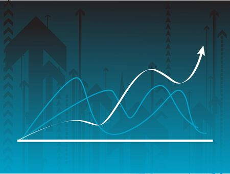 Blue vector background with a graph photo