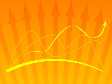 Orange vector background with a graph photo