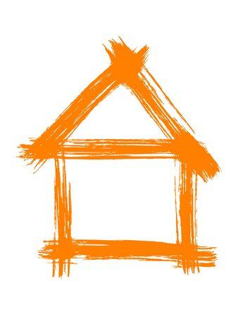 Orange painted house vector illustration illustration