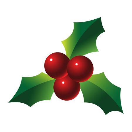 a sprig: Holly sprig on white background vector illustration