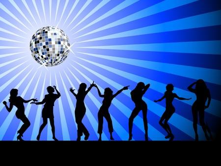 dancefloor: silhouettes of people dancing on the dancefloor Stock Photo
