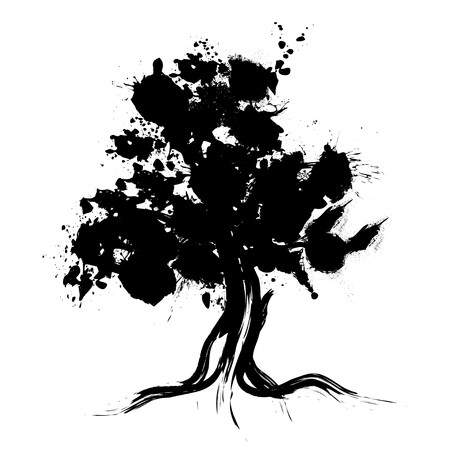 growing tree: Abstract tree silhouette vector illustration Stock Photo