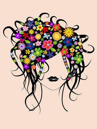 Beautiful girl with flowers in hair vector illustration illustration