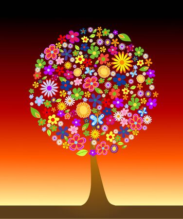 vibrant colors fun: Colorful tree with flowers vector illustration Stock Photo