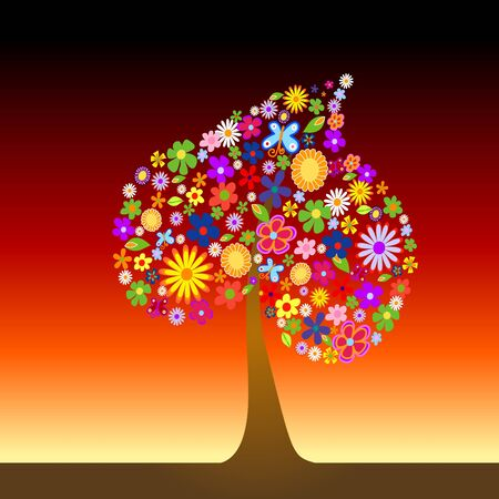 Colorful tree with flowers vector illustration Stock Illustration - 4394527
