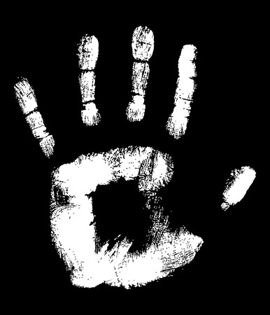 White Handprint on black fully editable vector illustration Stock Illustration - 4394631
