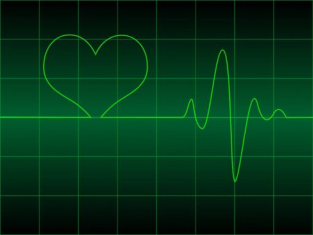 cardioid: Cardiograma coraz�n con coraz�n en �l ilustraci�n vectorial
