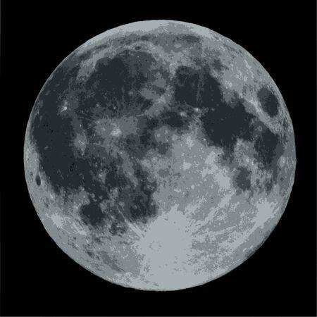 full body: Full moon against a black sky vector illustration