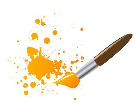 Paintbrush with ink splats vector illustration illustration