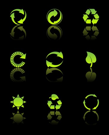 Vector set of environmental / recycling icons on black background Stock Photo - 4394490