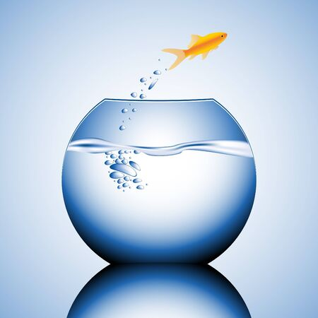 goldfish jumping out of the water vector illustration Stock Illustration - 4394349
