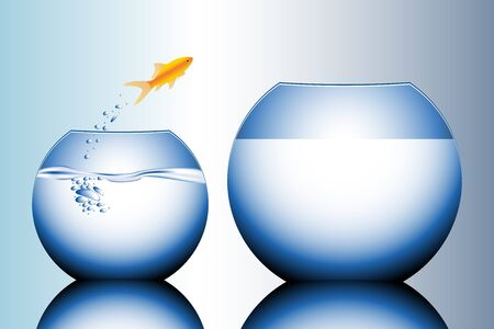 goldfish jump: goldfish jumping out of the water vector illustration Stock Photo