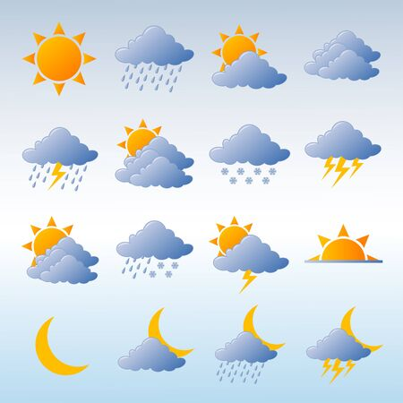 Weather icons fully editable vector illustration Stock Illustration - 4394625
