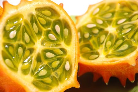 english cucumber: Kiwano or African horned melon . Also known as hedged gourd, African Horned Cucumber, English tomato Stock Photo