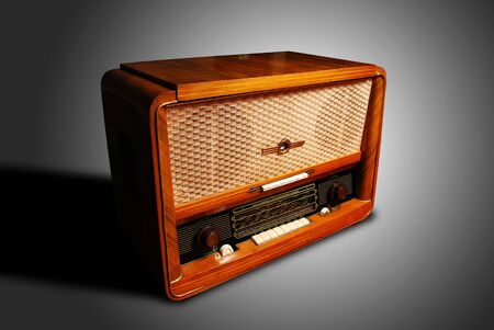 vintage radio on grey background