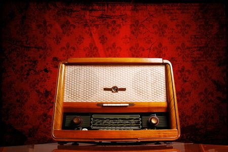 vintage radio on red background  Stock Photo