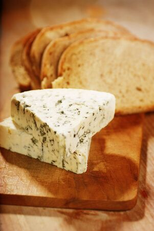 veined: danish blue cheese and slices of bread