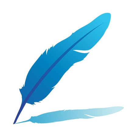 literatura: Blue feather -illustration isolated on white