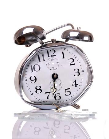 an alarm clock: Buenos d�as - Broken alarm clock  Foto de archivo