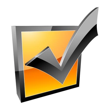 garrapata: icono de 3d de marca de verificaci�n  Vectores