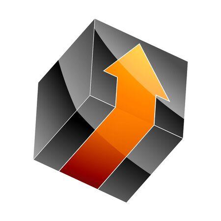 3d black cube with arrow  Stock Vector - 7884031
