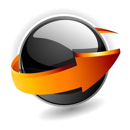 naranja caricatura: esfera 3D con flecha  Vectores