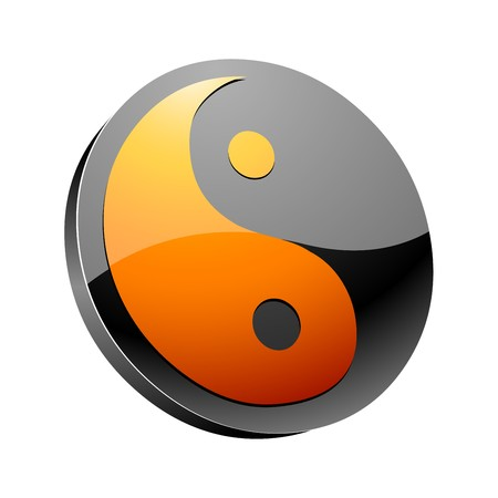 chineese: yin and yang 3d icon  Illustration