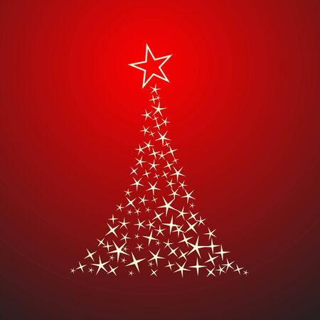 Abstract christmas tree on red background Stock Vector - 7884157
