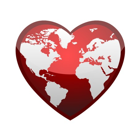 sentiment: Earth in form of heart Illustration