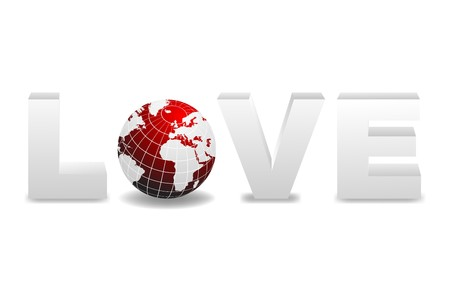 replacing: word Love with 3D globe replacing letter O