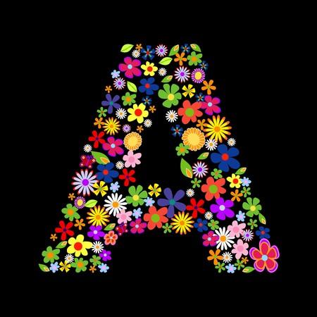 floral alphabet: flower font, letter A Illustration