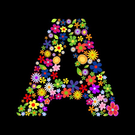 flower alphabet: flower font, letter A Illustration