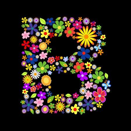 gerbera daisy: fuente de la flor, letra B