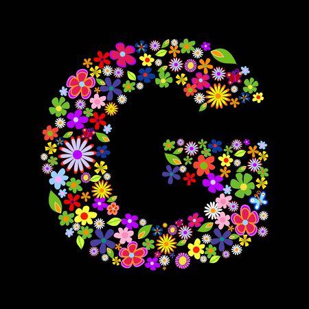 flower font, letter G Stock Vector - 7884258