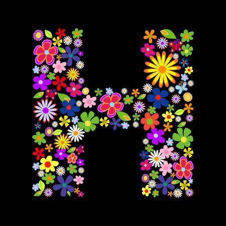 flower font, letter H Stock Vector - 7884245