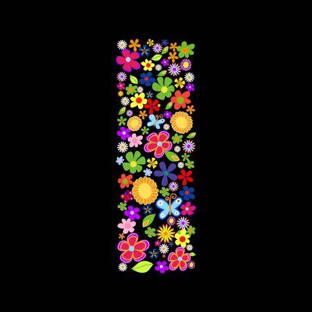 gerbera daisy: flor de la fuente, letra I