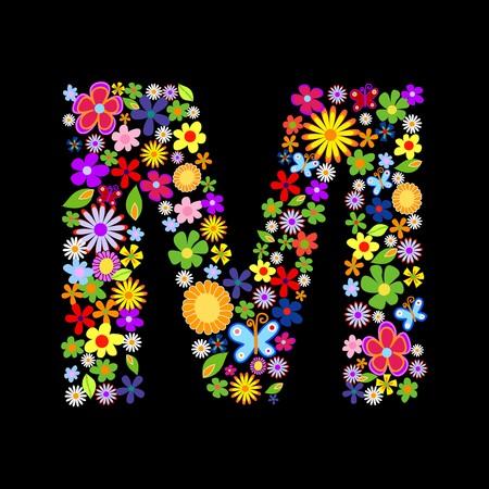 gerbera daisy: fuente de la flor, letra m Vectores