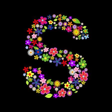 gerbera daisy: fuente de la flor, letra S Vectores