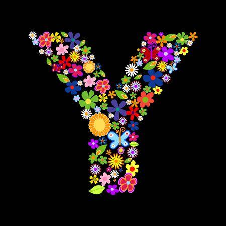 flower font, letter Y Stock Vector - 7884223