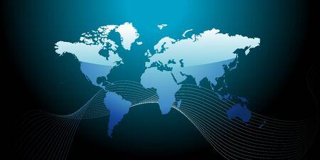wereldkaart blauwe tonen