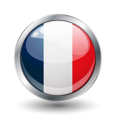 national colors: France, shiny button flag